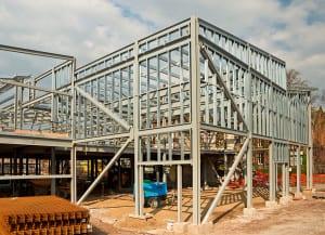 Building frame under construction - commercial development Tucson