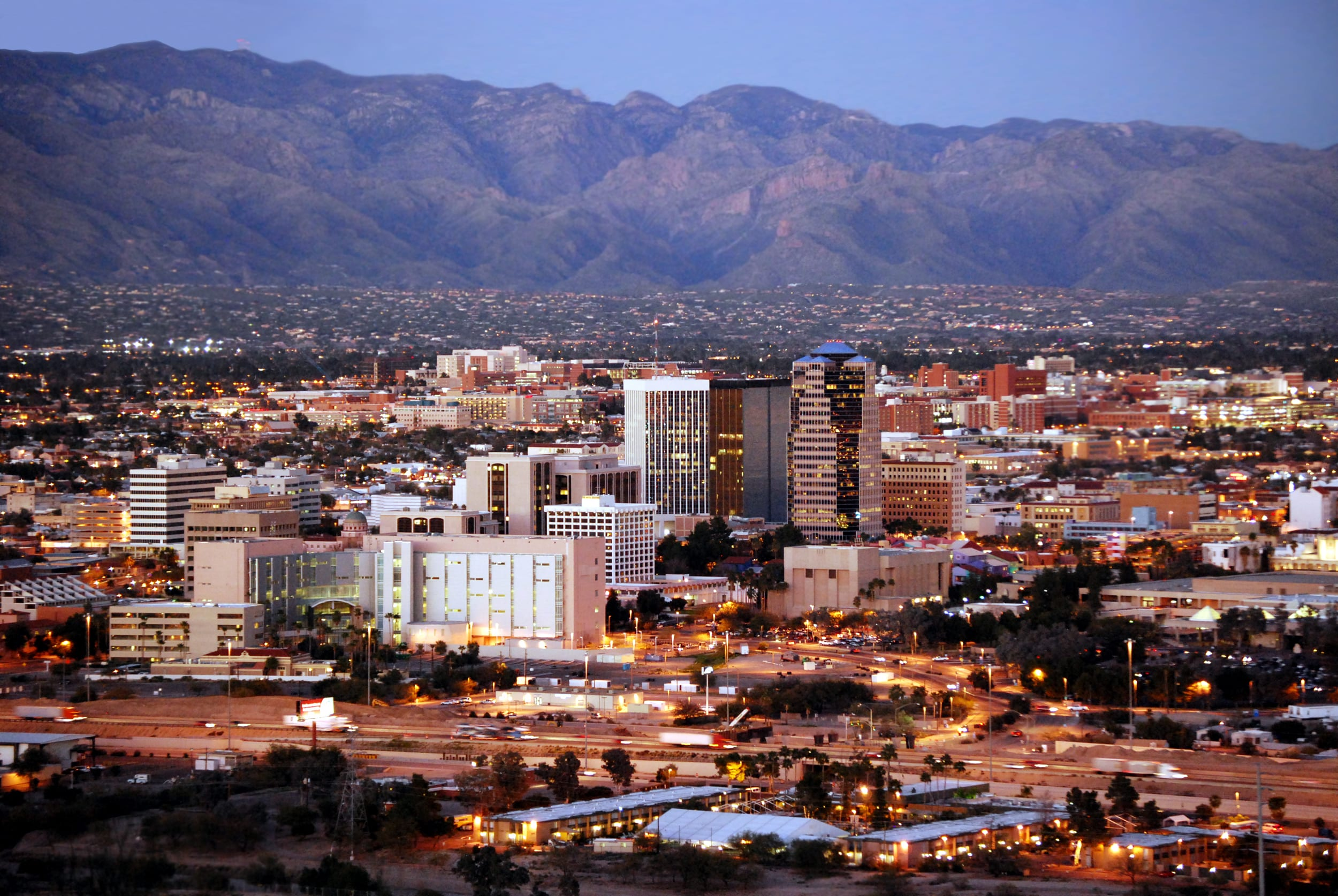 Skyline of Tucson, overlooking commercial real estate